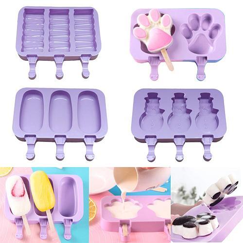2/3 Cell Silicone Ice Cream Makers Footprint Bear Paw Rabbit Ice Cream Tubs with Sticks DIY Ice CreamMold Ice Cream Maker Mold