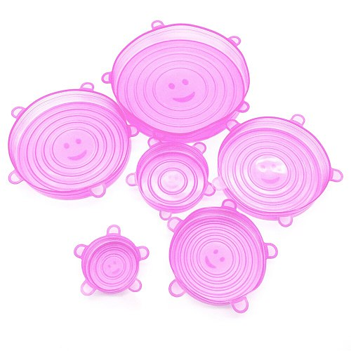 6pcs Reusable Silicone Fresh Keeping Cover Food Packaging Cover Silicon Food Fresh-Keep Sealing