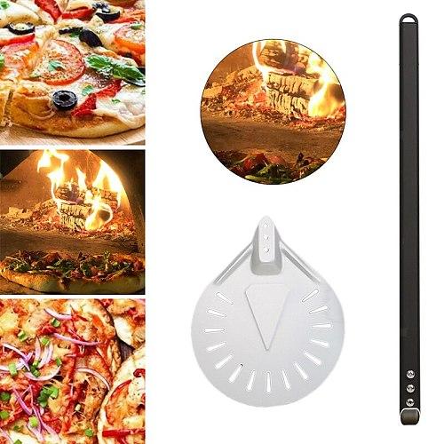 7'' Long Aluminum Alloy Pizza Peel Shovel Wooden Handle Pizza Turning Peel Microware Oven Pizza cakes pies Baking Tool