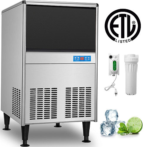 VEVOR Ice Cube Maker Machine Stainless Steel Auto Clean Clear Air-Cooled Include Water Filter Electric Drain Pump Ice Scoop Home