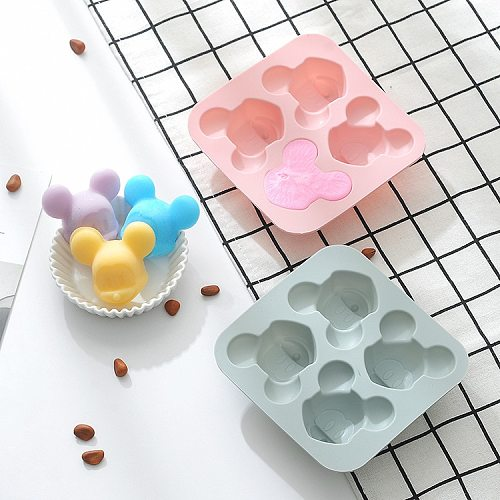 DIY 4-cavity cartoon mouse silicone cake mold chocolate bread pastry ice tray mold children's fudge cake decoration baking tools