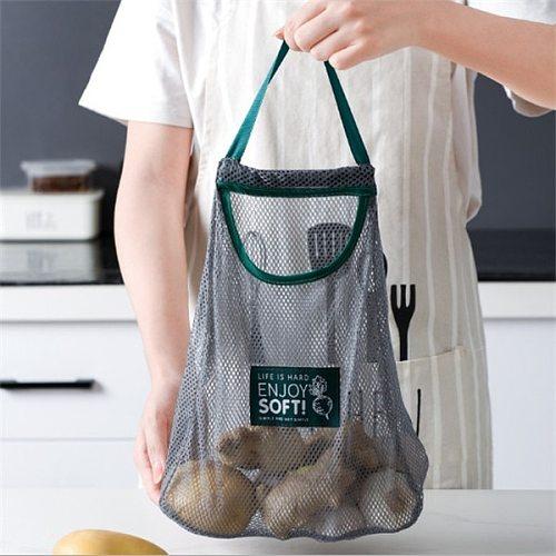Fruit Vegetable Garlic Onion Hanging Storage Bag Breathable Reusable Mesh Bags Organizer Home Kitchen Accessories Kitchen storag
