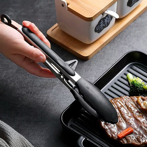 Kitchen Cooking Tongs Stainless Steel Salad Tongs BBQ Grill Tongs Silicone Food Serving Tongs with Stand BBQ Cooking Utensils