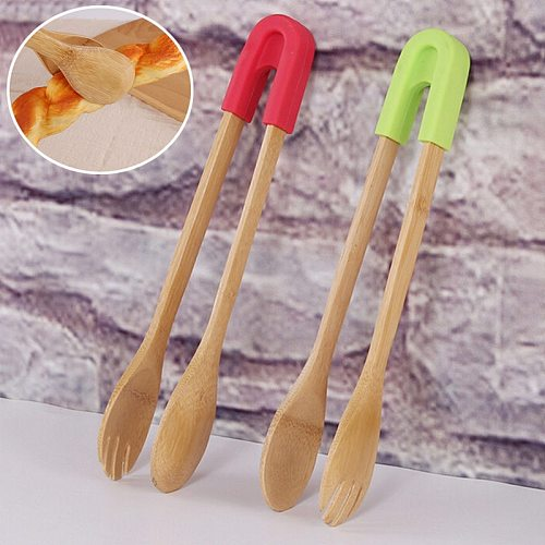 Bamboo Food Toaster Tongs Wooden Salad Cake Snack Clip Grip Silicone Handle Bread Tongs Kitchen Tools Clamp 1Pc