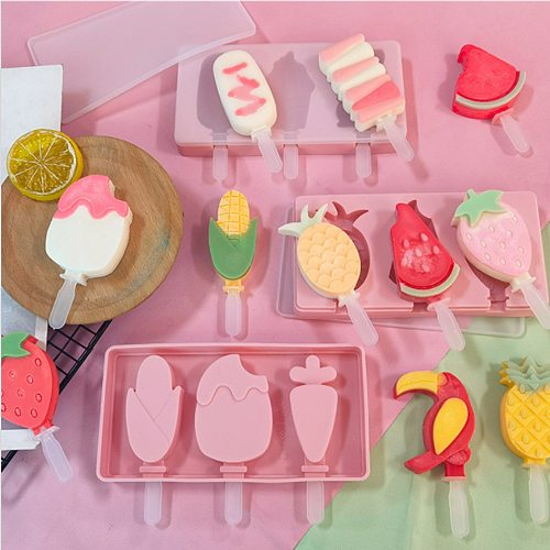 Silicone Ice Cream Molds Popsicle Mold Freezer DIY Homemade Dessert Mould Form Ice Cube Tray Barrel Tool with Cover and Sticks