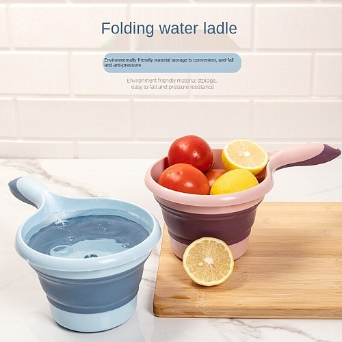 Creative Kitchen Water Scoop Water Scooping Soup Spoon Household Large Long Handle Folding Water Float Spoon Plastic Folding