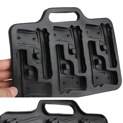 Gun Shaped Ice Cube Maker Mold Plastic Large Ice Cream Tub Set Tools Ice Cube Tray Mould for Party Drink Whiskey Bar Accessories