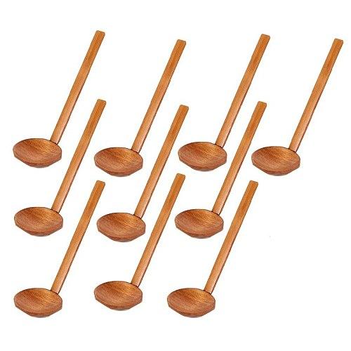 Japanese 8.5 inch Ramen Handcrafted Wooden Soup Spoon Wooden Utensils Set for Kitchen, Wooden Hot Pot Spoon 10 Pcs