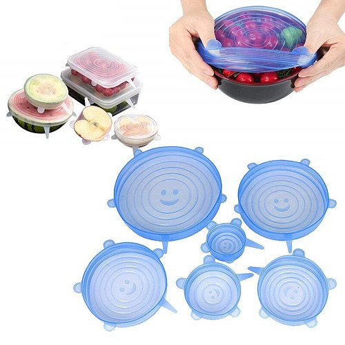 6pcs/set Reusable Silicone Food Cover Elastic Stretch Adjustable multi-functional fruit and vegetable  fresh keeping bowl caps