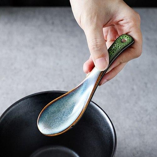 KINGLANG 2pcs Klin Glazed Soup Spoons Ceramic Dinner Rice Spoon 5 Colors Kiln Retro Spoon Eat Drink Soup