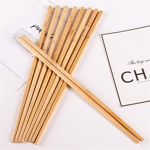1/5Pair Natural Wooden Bamboo Chopsticks Dinnerware Health Without Lacquer Wax Tableware Chinese Kichen Tools or stainless steel
