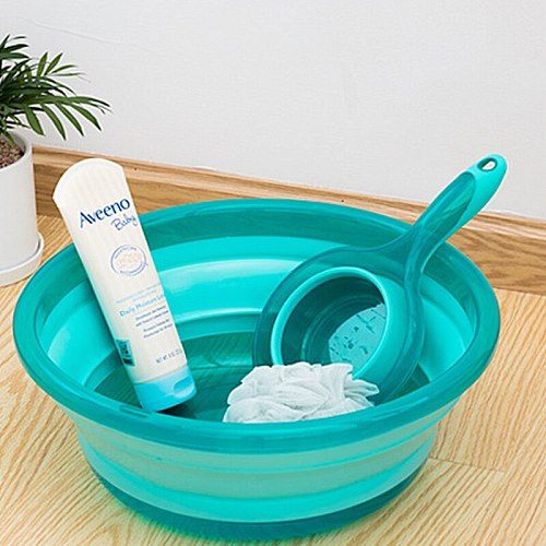 Portable Folding Water Scoop Wash Basin Telescopic Bucket Plastic Product Big Grip Outdoor Tourism Basin Bathroom Accessories