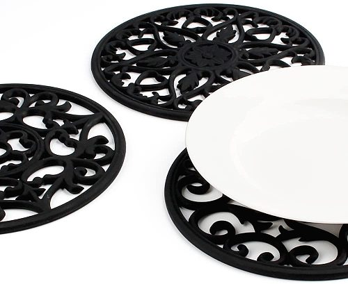 Set Silicone Multi-Use Intricately Carved Trivet Mat - Insulated Flexible Durable Non Slip Coasters