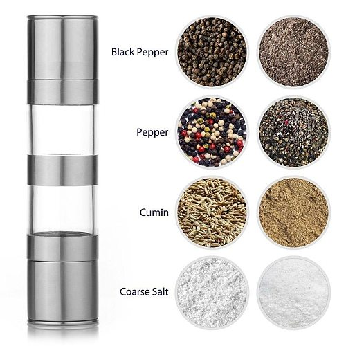 Stainless Steel Pepper Mill Manual Double Layer Grinder Pepper Spice Grain Grinder Porcelain Powder Core Grinder Kitchen Tool