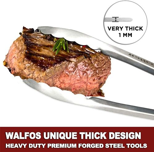 WALFOS Extra Long Stainless Steel BBQ Grilling Tong Salad Bread Serving Tong Non-Stick Kitchen Barbecue Grilling Cooking Tong