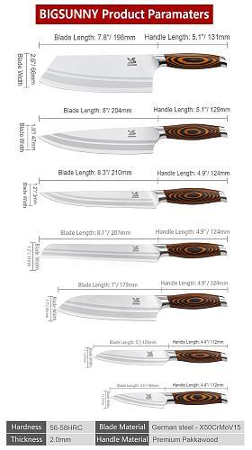 BIGSUNNY 7Pcs Kitchen Knife Set with Premium Pakkawood Handle German Steel Knives Set Includes Cleaver Chef Knife Santoku Knife