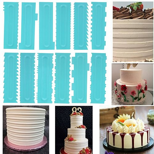 Cake Decorating Comb Cake Scraper Edge Smoother Mousse Cream Decorating Pastry Icing Comb Fondant Spatulas Baking Pastry Tools