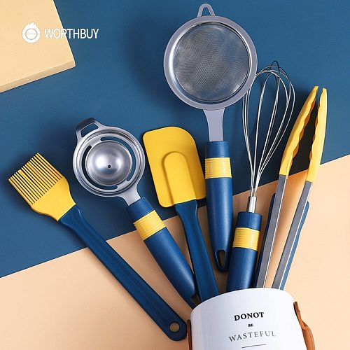 WORTHBUY Silicone Pastry Baking Tools Brush Spatula Set Non-Stick Silicone Cooking Utensils With Heat-Resistant Handle Kitchen