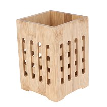 Bamboo Chopsticks Holder Holey Cutlery Organizer Tableware Drying Canister Kitchen Utensil Storage Bucket