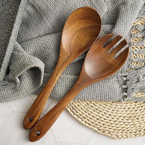 Reusable Wooden Retro Salad Sushi Fork Pasta Spoon Kitchen Cooking Utensil Tool Cooking Utensil Tool