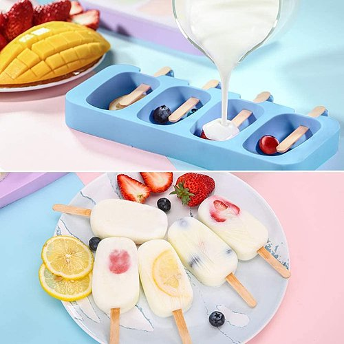 Ice Cream Mold 4-hole Small Pudding Mold Environmentally Friendly And Non-Toxic Silicone Ice Cream Mold With 50 Sticks
