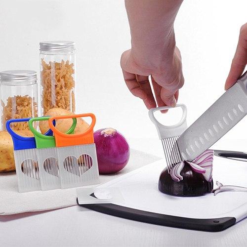 Kitchen Accessories Onion Tomato Slicer Stainless Steel Holder Vegetable Fruit Cutting Tool Lemon Cutter Kitchen Gadget Supplies