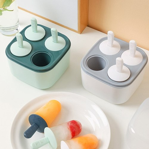 4 cells Baby DIY Ice Cream Tray Ice Maker With Lid and Sticks Forms for Ice Reusable Box Kitchen Tools Stocked Juices Purees Box