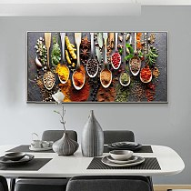 Kitchen Themed Wall Art Decor Colorful Spice and Spoon In Table Canvas Paintings Food Cooking Ingredients Canvas Art Print Decor
