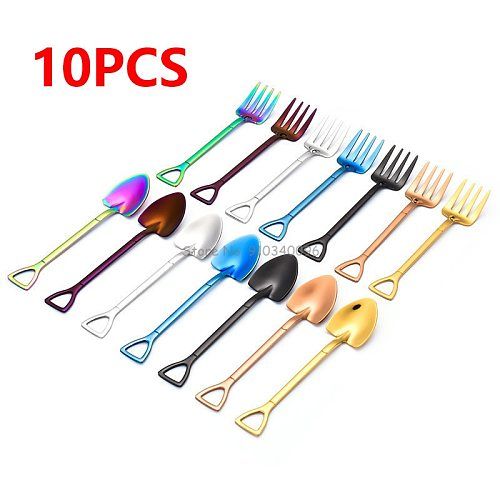 10PCS Creative Shovel Fork Spoon 304 Stainless Steel Fork Ice Cream Dessert Coffee Spoon Fruit Fork Teaspoon Stirring Spoon