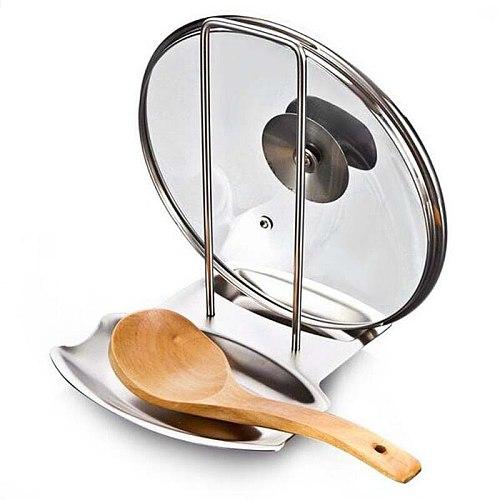 Kitchen Accessories Stainless Steel Pot Lid Shelf Kitchen Organizer Pan Cover Lid Rack Stand Sponge Spoon Holder Dish Rack