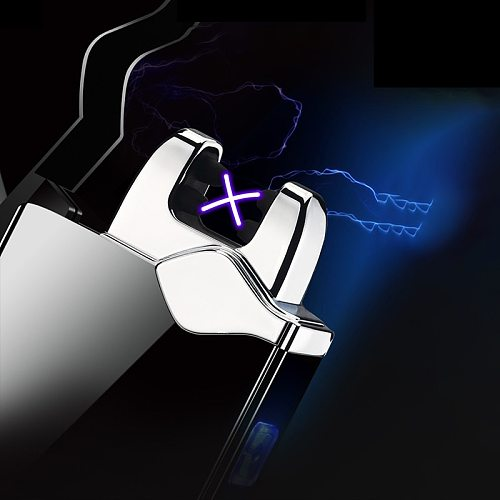 New button Double Arc Plasma electric Lighter LED Power Display cool USB rechargeable Metal Windproof electric lighters