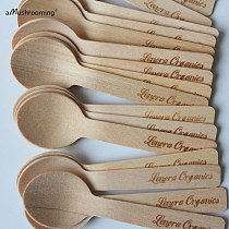 Customize Mini Wooden Spoons Personalized Wedding Desserts Spoons Round Ice Cream Wedding Parties Banquets 100 ct