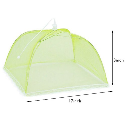 17  x17  kitchen dish cover solid color folding dish cover large anti-fly pop-up umbrella tent nylon food cover net food tent