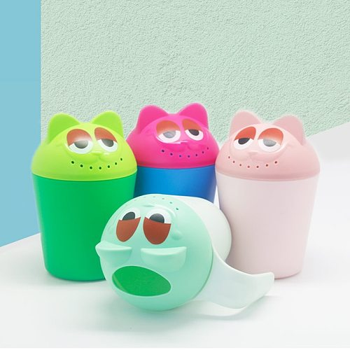 Baby Bath Cap Kids Washing Hair Shampoo Cute Cartoon Cow Cup Children Shower Spoons Silicone Water Scoop Cup for Kids Bathing