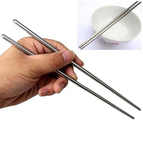 1 Pair Korean Stainless Steel Chopsticks Laser Engraving Patterns Food Sticks Portable Reusable Chopstick Sushi Hashi