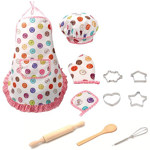11pcs Kids Cooking And Baking Set Kitchen Costume Role Play Kits Apron Hat Kitchen Utensils Cooking Pots Pans Food Dishes