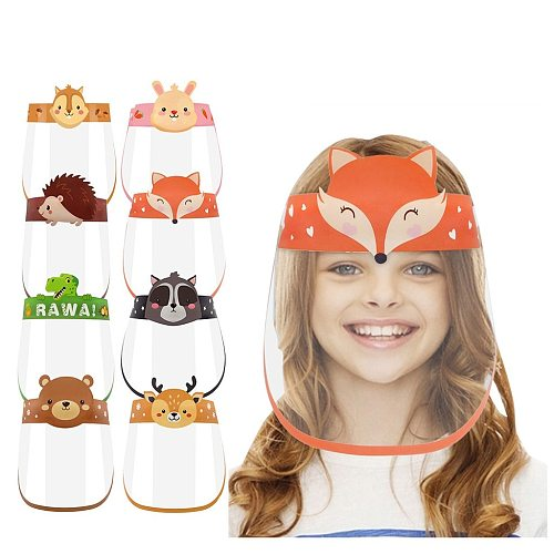 Outdoor Children Kids Boy Girl Cartoon Face Shields Cover Mask with Elastic Band Reusable Washable Transparent Visual Facemask
