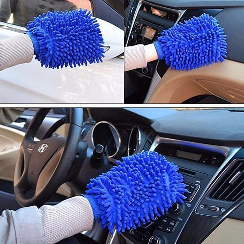 1Pcs Car Washing Cleaning Tool Car Drying Gloves Ultrafine Fiber Chenille Washable Soft and Thick Car Care Car Cleaning Tool