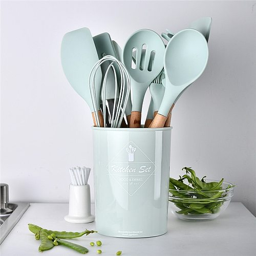 Silicone Kitchenware Cooking Utensils Heat Resistant Kitchen Non-Stick Cooking Utensils Kitchen Baking Tools with Storage Box