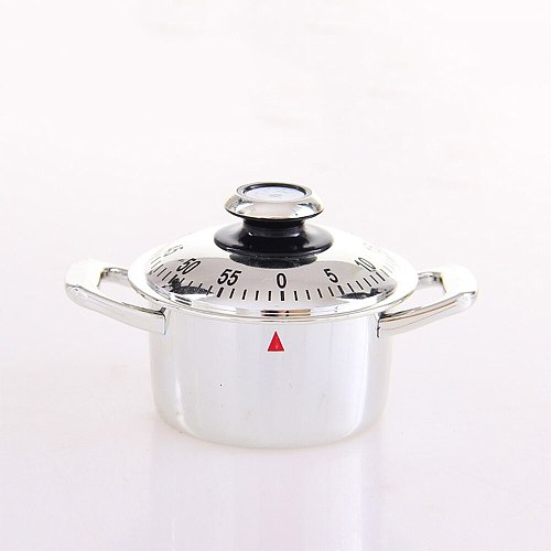 Creative Stainless Steel Timer Kitchen 60 Minutes Alarm  Clock Timer Teapot  Mechanical Clockwork Cooking  Clock Counting