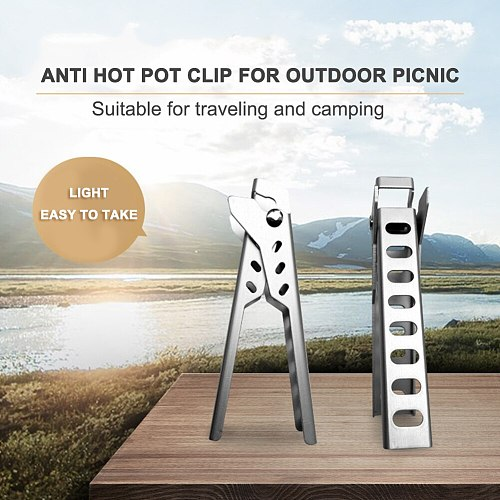Utensil Holder Dish Clamp Pot Handle Kitchen Tool Camping Anti-Scald Pot Pan Gripper Outdoor Cooking Picnic Handle Holder