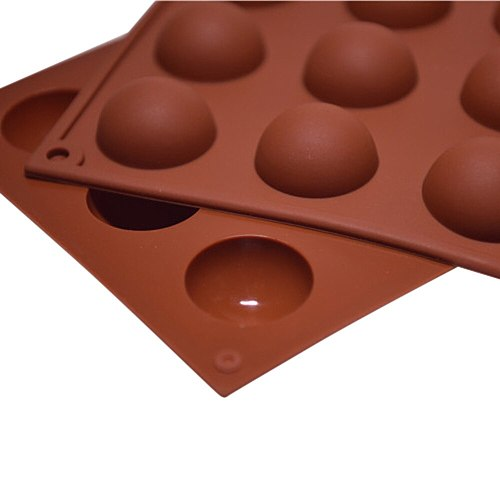 Silicone 15 Cavity Half Ball Mould Candy Bar Accessories Diy Chocolate Cupcake Cake Muffin Baking Mold Ice Ball Molds Freeze#763