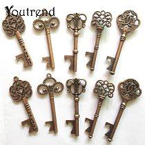 10Pcs/Lot 5 Styles Antique Bronze Metal Skeleton Key Shape Bottle Opener Rustic Wedding Souvenir Decor Gift Party Favor Supplies