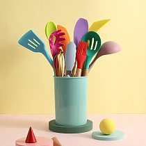 12pcs Silicone Cooking Utensils Tools Set Kitchen Non-stick Spatula Shovel Spoon Egg Beater Baking Tool Kit Kitchenware Cookware