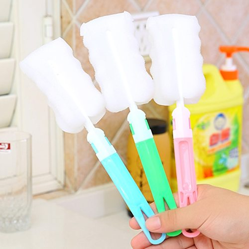 Long Handle Baby Bottle Brush Soft Sponge Brush Water Bottle Glass Cup Washing Cleaner Tool Kitchen Cleaning Tool Specialty Tool