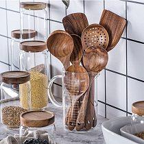 Teak Natural Wood Tableware Spoon Turner Rice Colander Soup Scoop Skimmer Kitchen Cooking Tools Set Cookware Kit Reusable