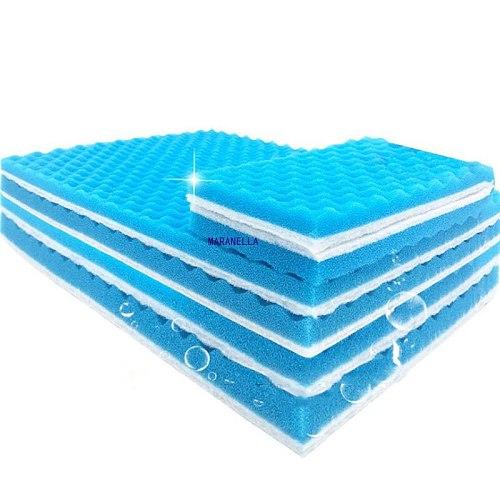 Blue and White 50cmx11cmx2cm Filtration Foam Aquarium Fish Tank Biochemical Filter Sponge Pad Skimmer Sponge Supply Tank