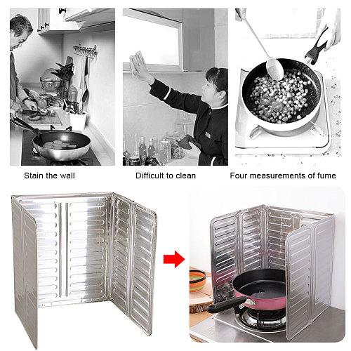 Aluminum Foldable Kitchen Gas Stove Baffle Plate Kitchen Frying Pan Oil Splash Protection Screen Kichen Accessories
