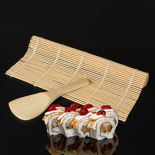 Sushi Tool Bamboo Rolling Mat DIY Onigiri Rice Roller Chicken Roll Hand Maker Kitchen Japanese Sushi Maker Tools With Spoon