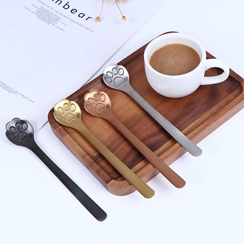 1PC Creative Cat Paw Claw Hollow Spoon Stirring Spoon Tea Coffee Dessert Spoons Cute Kitchen Tools